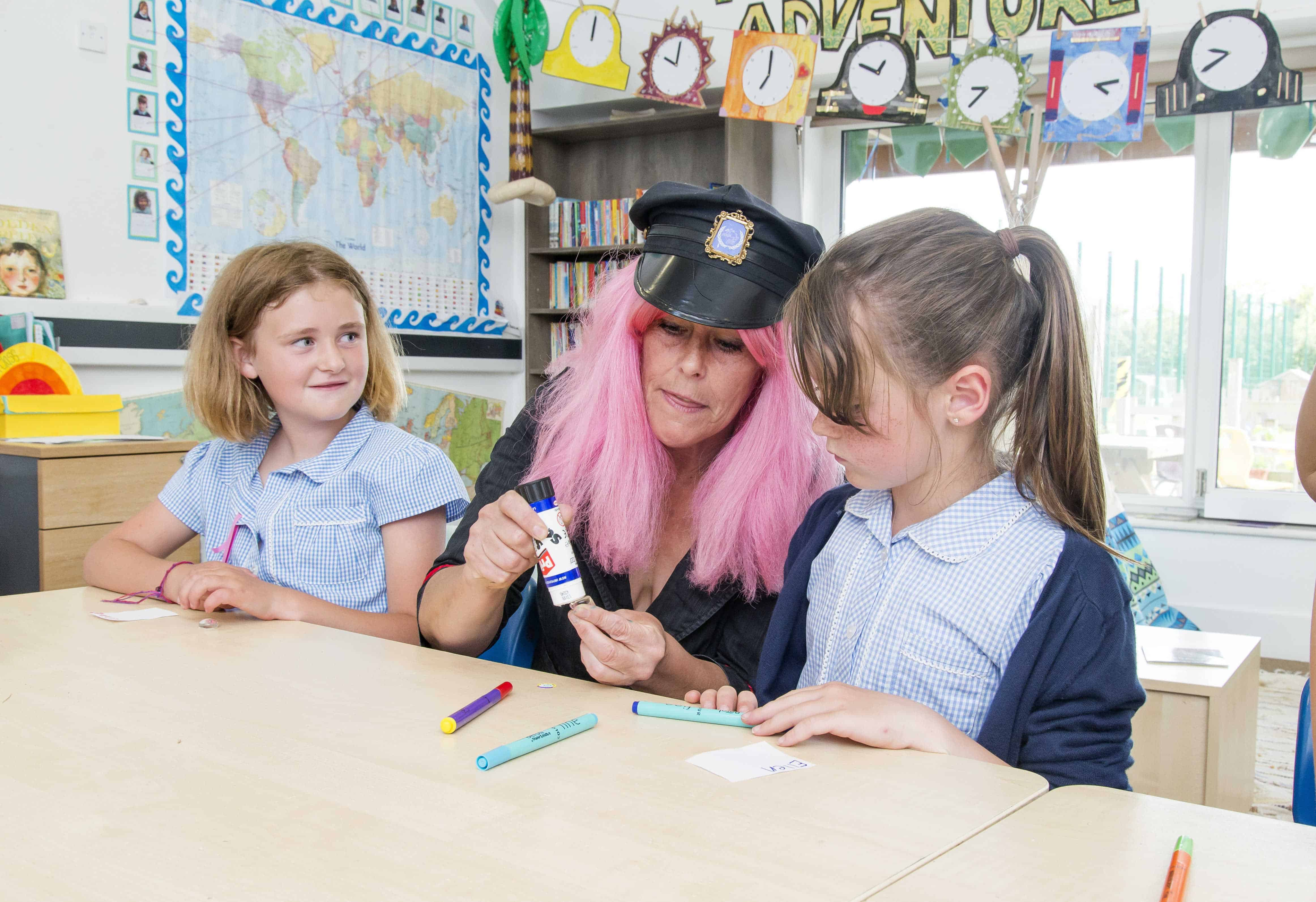 The Isles of Scilly Steamship Community Fund. Pupils from Five islands School, St Mary's with ' Poetry Postie'Sally Crabtree in poetry workshops.
