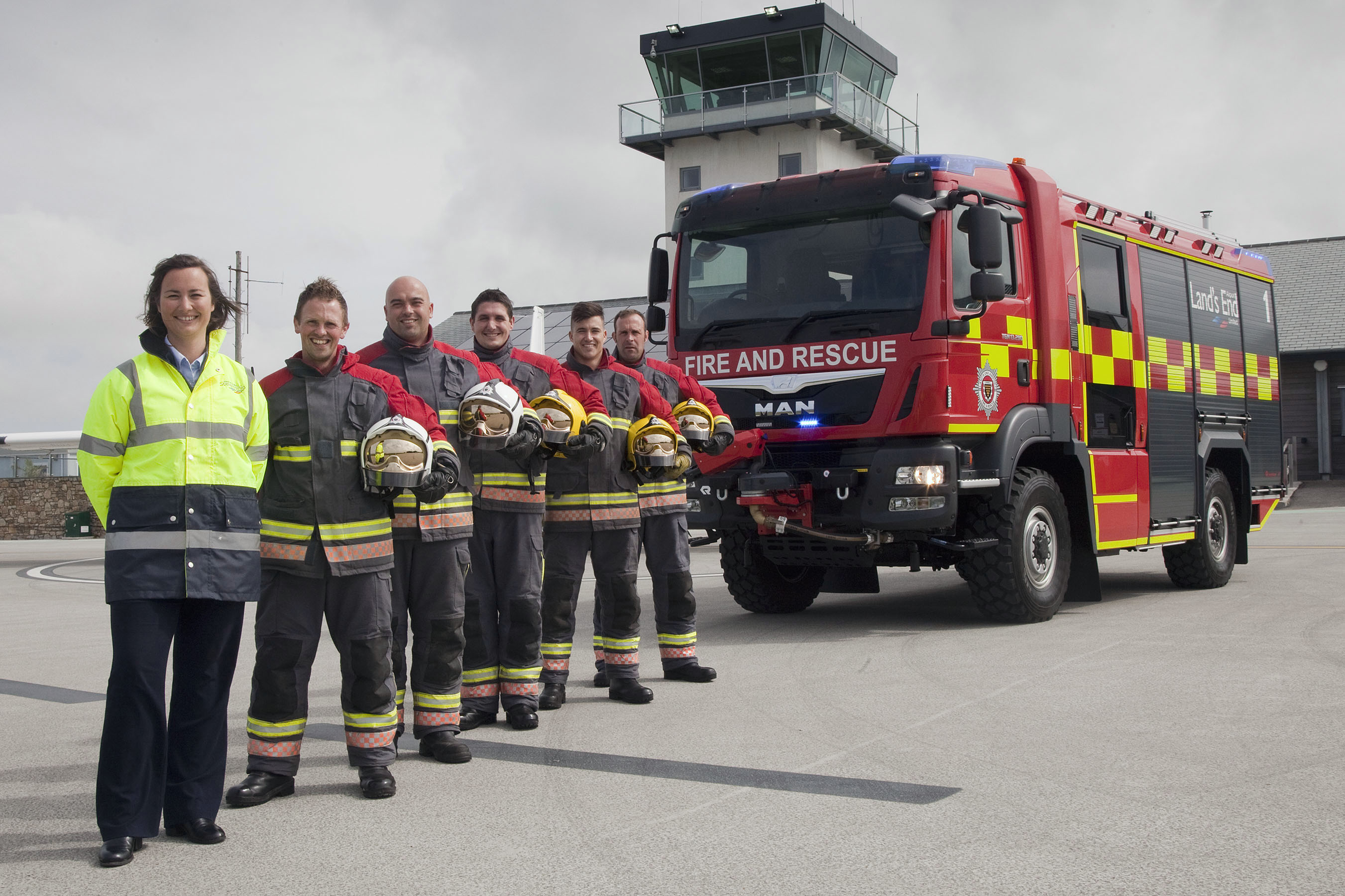 Land's End Airport have a new Rosenbauer AT (Advanced Technology) appliance. L-r Debs Stephens deputy airport manager, Gary Schofield Red Watch manager, Jono Stephens Blue Watch manager, Alex Bonner fire-fighter, Josh Smitham fire-fighter, Jamie Wallis fire-fighter.