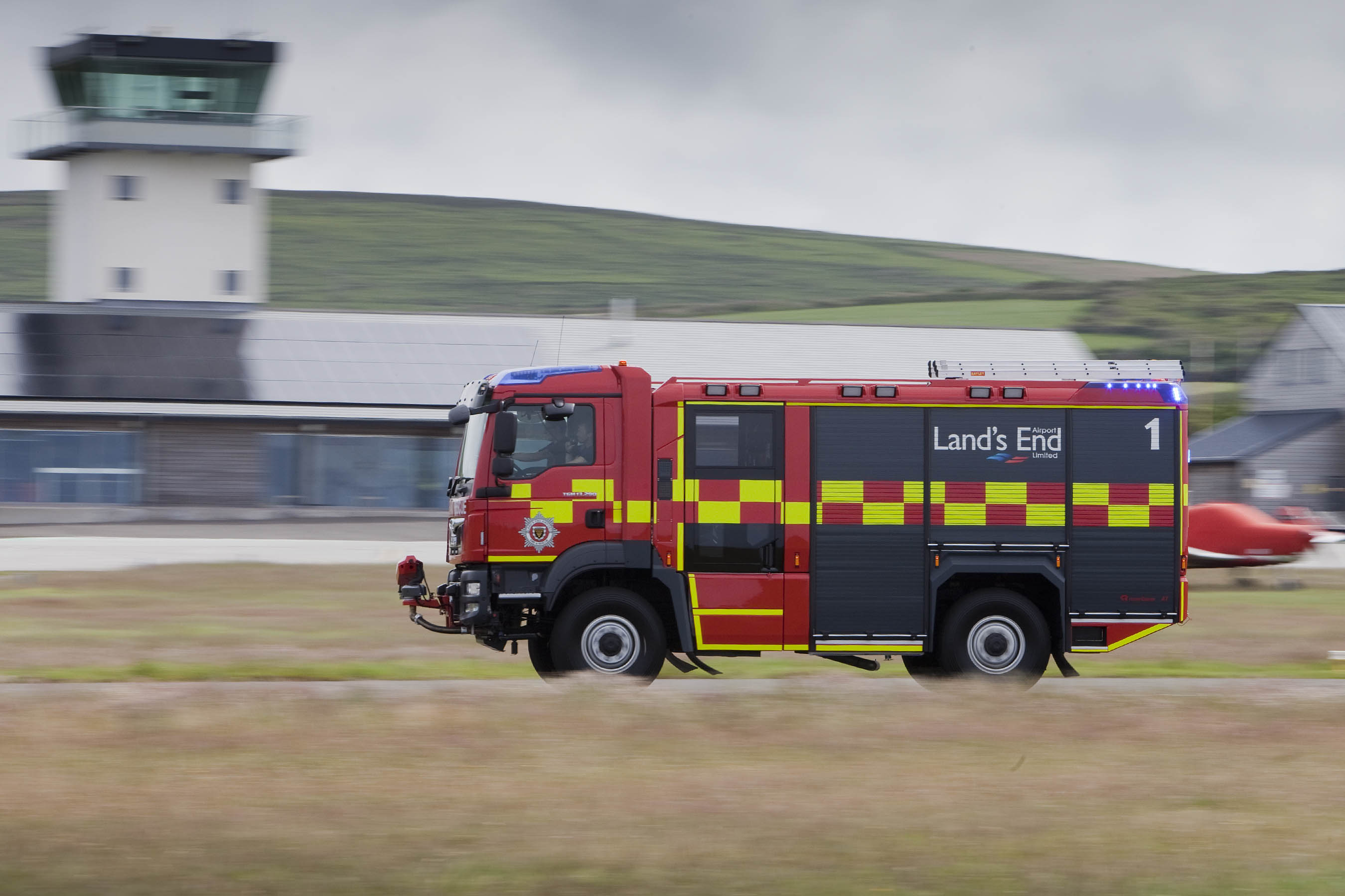 Land's End Airport have a new Rosenbauer AT (Advanced Technology) appliance, pictured showing its turn of speed during an excercise.