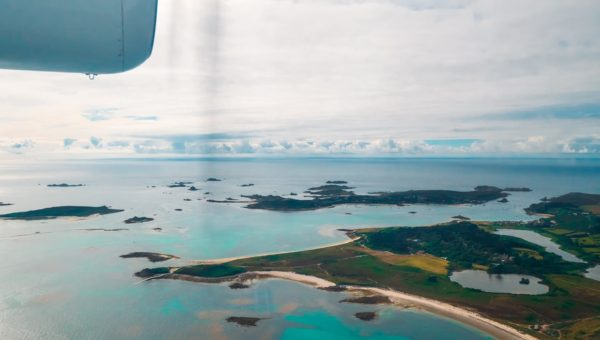 View of the Isles of Scilly from Skybus