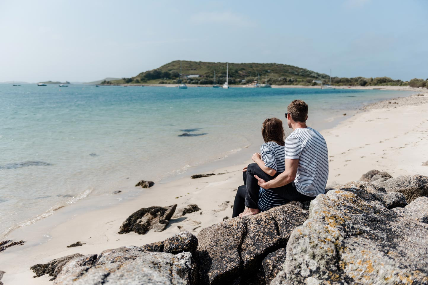 Couple on the beach ,Bryher on the Isles of Scilly