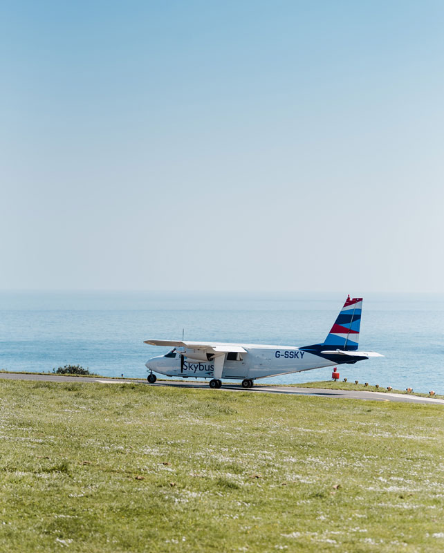 Skybus Plane on the runwayat St. Mary's Airport, Isles of Scilly Travel