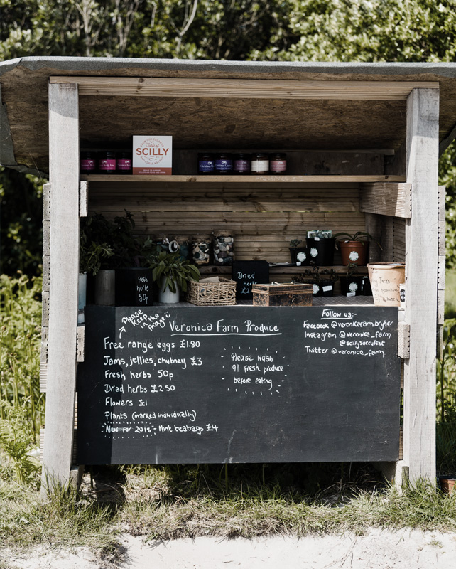 Honesty Stall in September on Bryher, Isles of Scilly