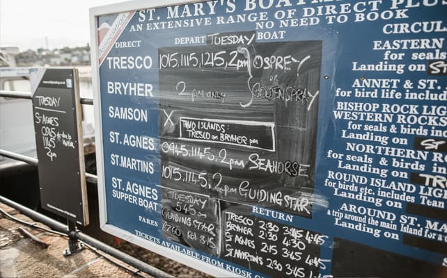Boat Trip Timetable - St. Mary's Boatmen
