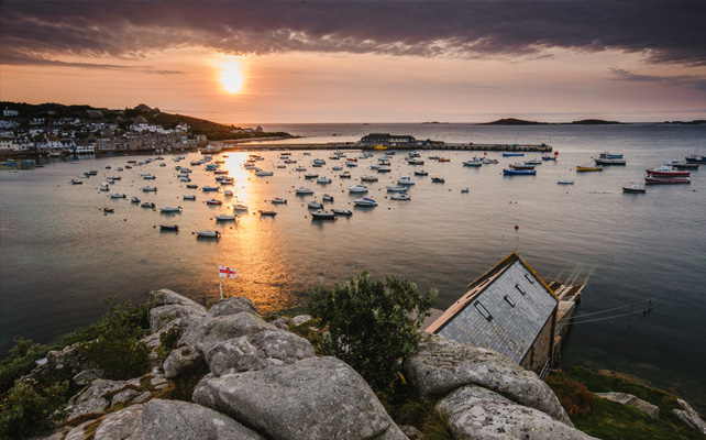 A view of St. Mary's Harbour with autumn sunset