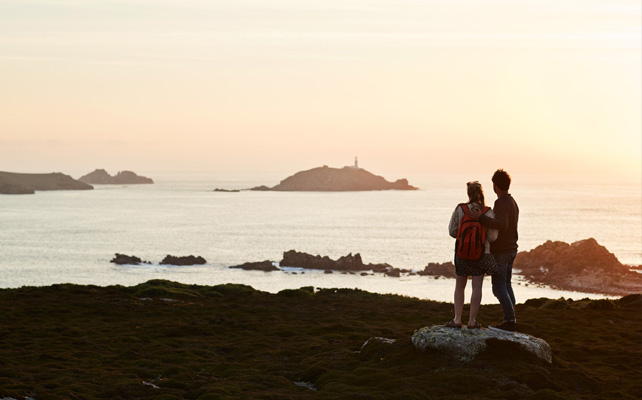 Sunset autumn views from St. Martin's, Isles of Scilly
